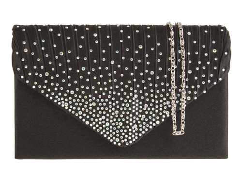 Amber Sequin Envelope Black Evening Clutch Bag