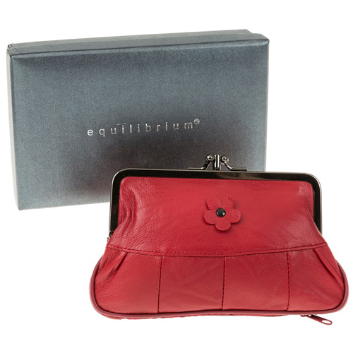 Equilibrium Leather Flower Purse - Red