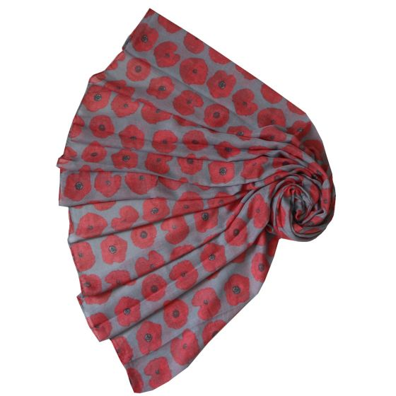 Grey Poppy Print Long Scarf - ONLY 4 LEFT IN STOCK