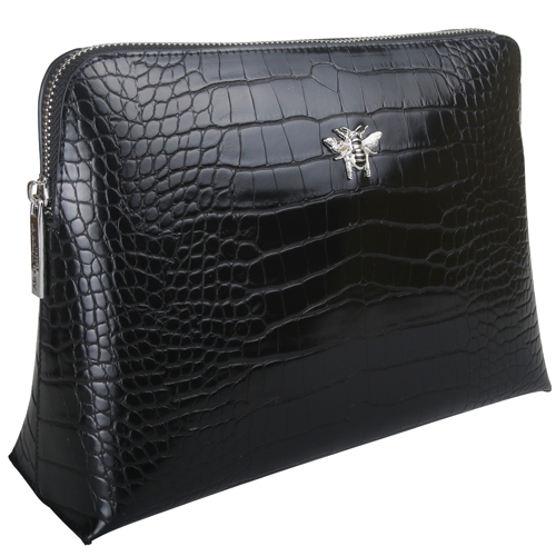 <span style='color: #000000;'>Alice Wheeler Luxury Black Croc Large Cosmetic Bag</span>