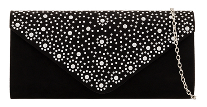 Gabrielle Black Flower Crystal Evening Clutch Bag