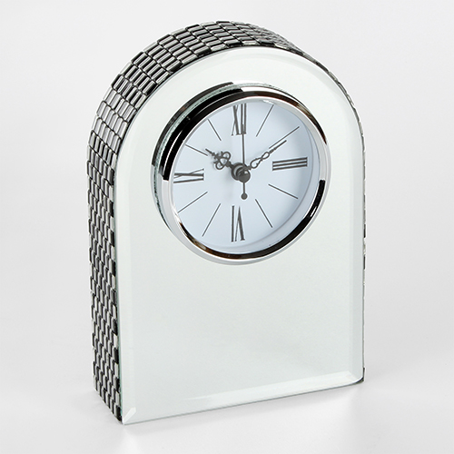 <span style='color: #000000;'>Hestia Glass Mirrored Arched Mantel Clock</span>
