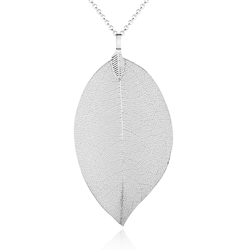 <span style='color: #000000;'>Real Leaf Skeleton Silver Pendant Necklace</span>