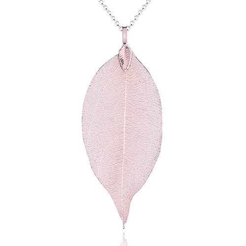 <span style='color: #000000;'>Real Leaf Skeleton Champagne Pendant Necklace</span>