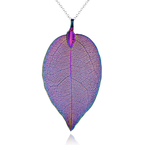 <span style='color: #000000;'>Real Leaf Skeleton Iridescent Pendant Necklace</span>