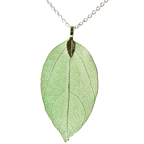 <span style='color: #000000;'>Real Leaf Skeleton Green Pendant Necklace</span>