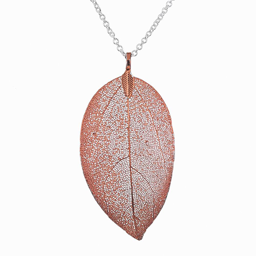 <span style='color: #000000;'>Real Leaf Skeleton Red Tea Pendant Necklace</span>