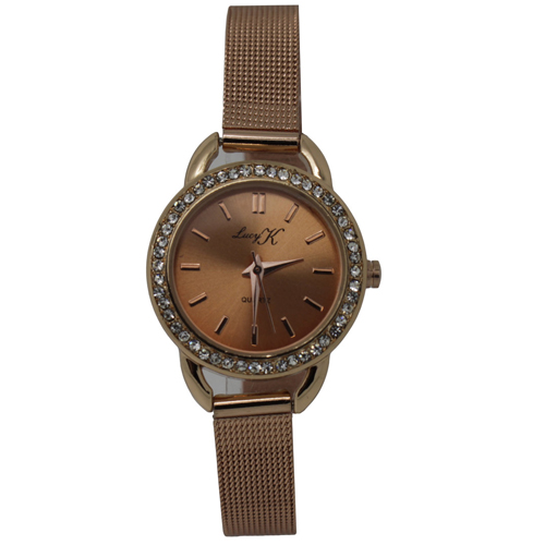 <span style='color: #000000;'>LUCY K Classic Rose Gold Quartz Watch with Crystal Surround</span>