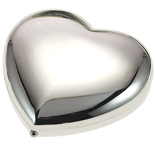 Silver Plated Heart Double Mirror