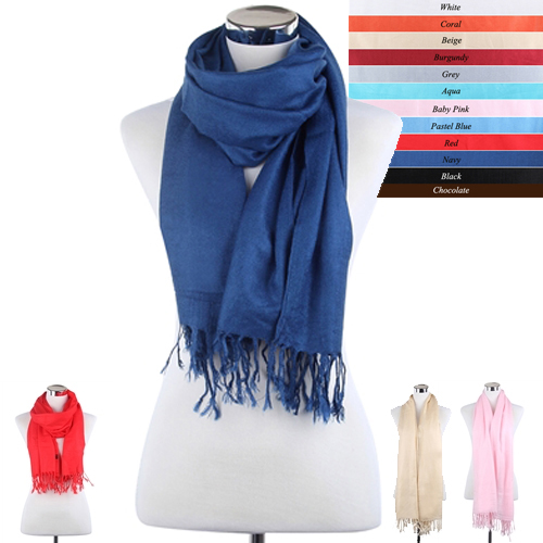 Plain Colour Pashmina Style Tasselled Scarf