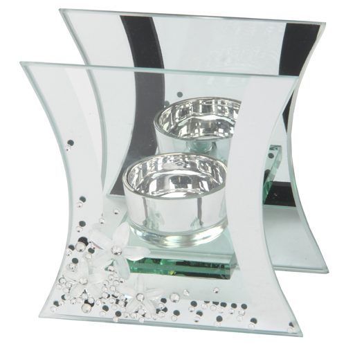 Hestia Mirror Glass & Crystal T Lite Holder Flute Shaped