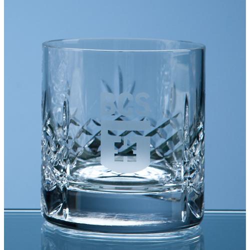 Mayfair Lead Crystal Panel Whisky Tumbler Engraved