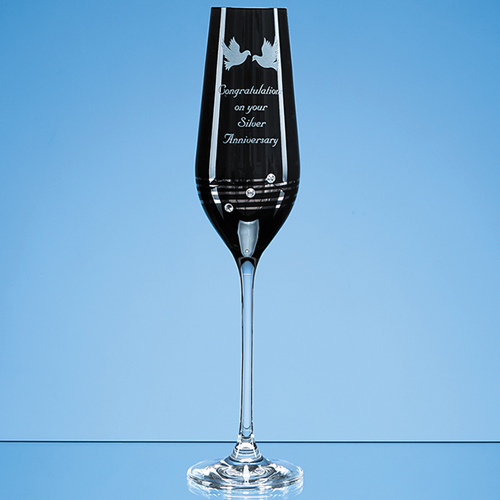 Single Onyx Black Diamante Champagne Flute with Platinum Spi